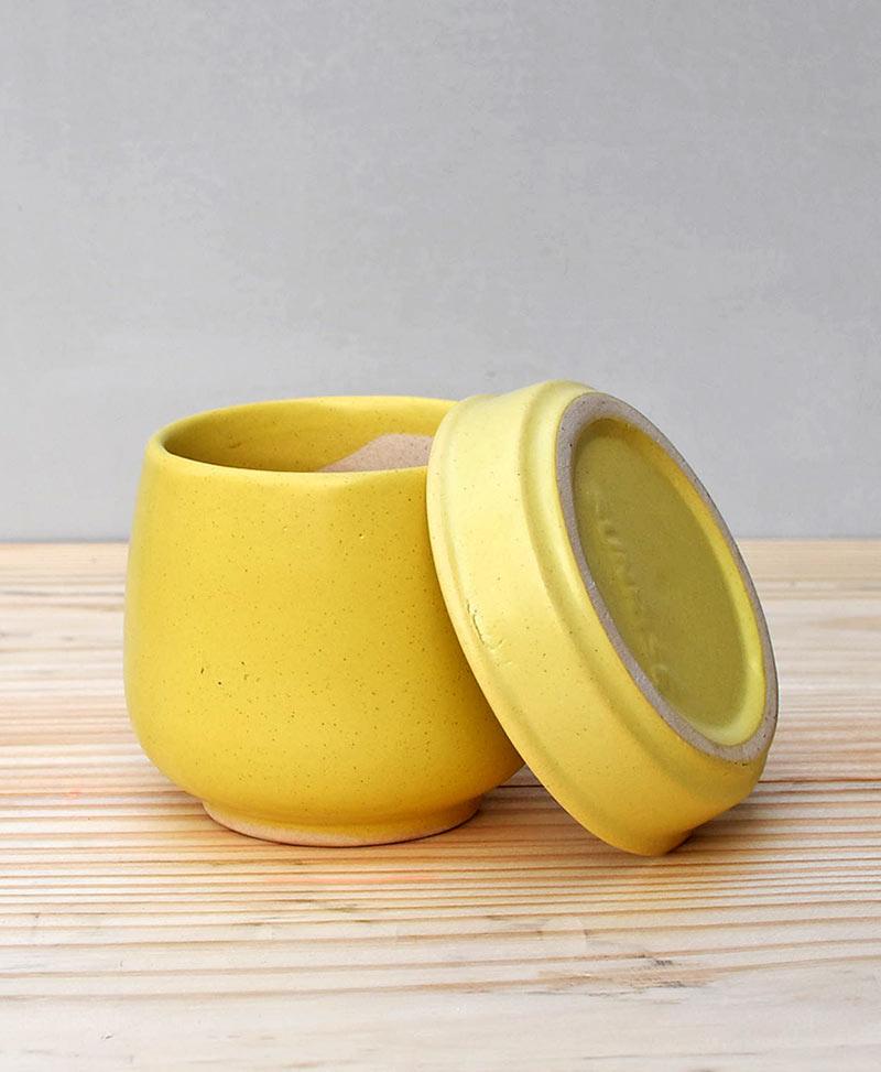 Ceramic Jar Pot 3 inch Pastel Yellow