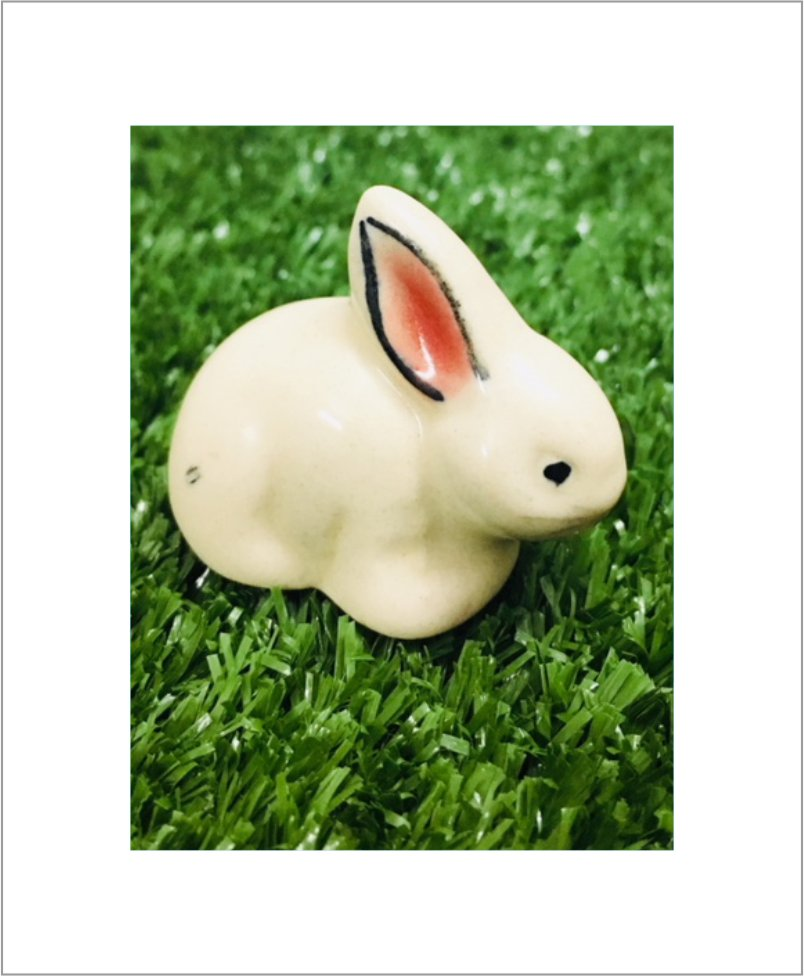 Garden Miniature Rabbits Set Of 2 Ceramic Rabbits