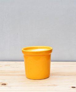 Ceramic Rim Pot 4 inch Mustard Yellow 1