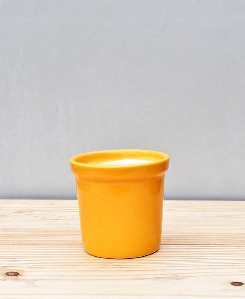 Ceramic Rim Pot 4 inch Mustard Yellow