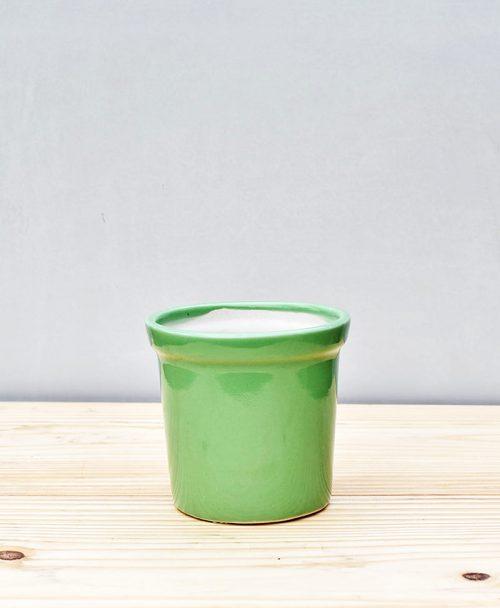 Ceramic Rim Pot 4 inch Parrot Green 1