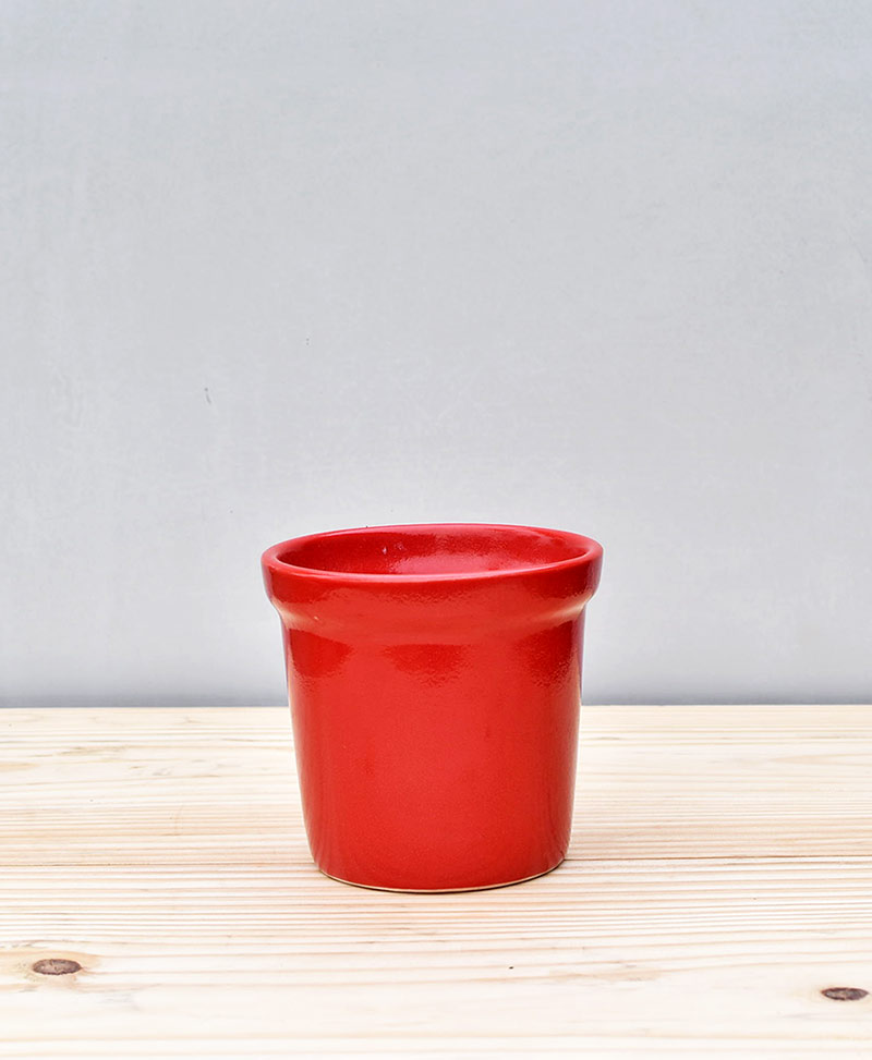 Ceramic Rim Pot  4 inch Red
