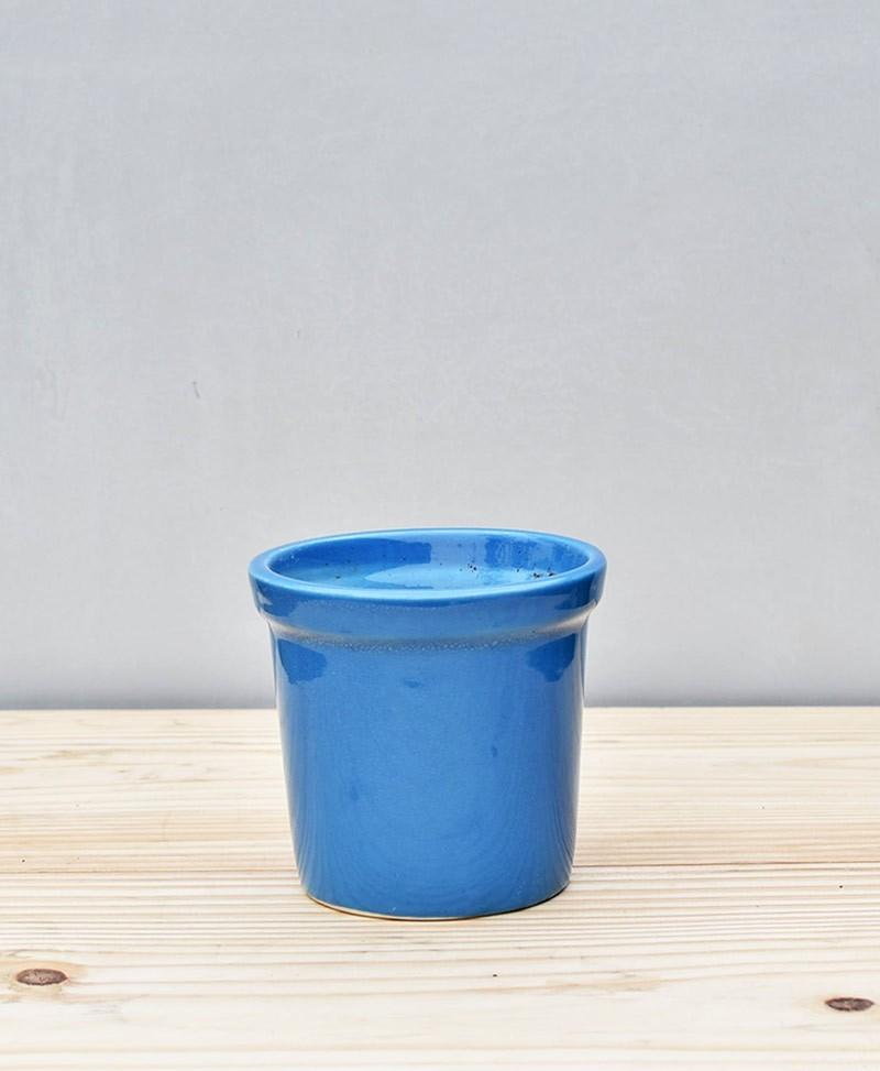 Ceramic Rim Pot  4 inch Sky Blue