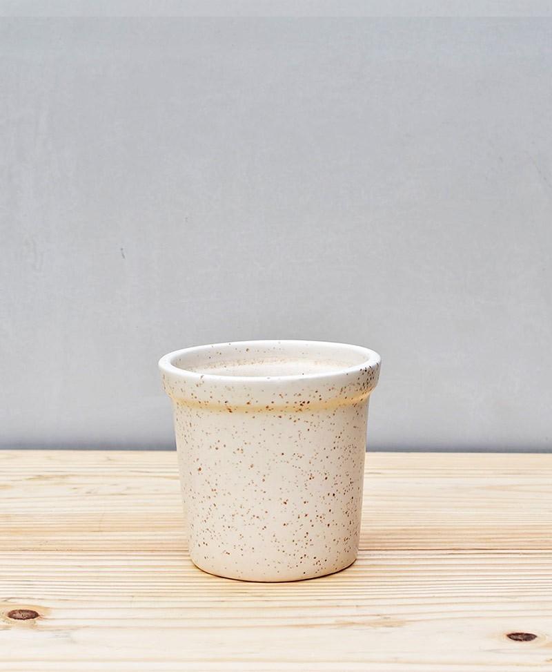 Ceramic Rim Pot 4 inch White
