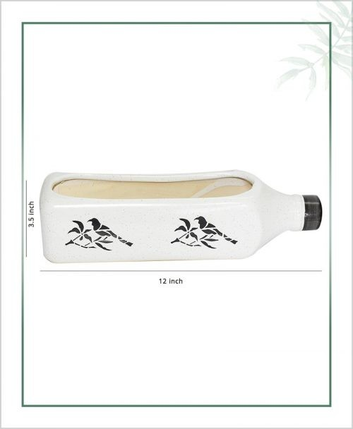 Ceramic Bottle - Bonsai Tray Planter - Bottle White 12 inch