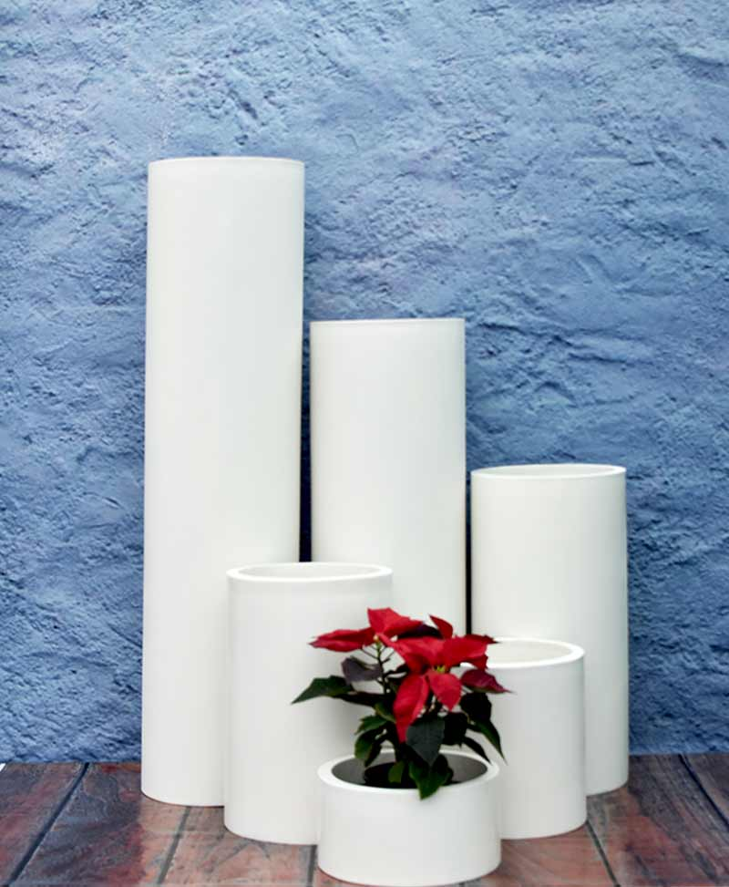 Cluster of Cylindrical Planters Luxury, Indoor - Outdoor Fiber Planters