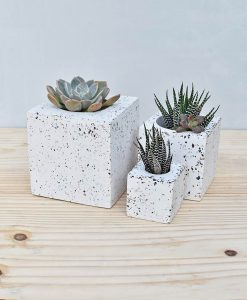 Cluster of Geometric Concrete Planter Cube