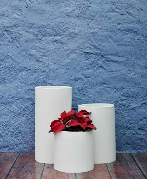 Cluster of Cylindrical Planters Economical Indoor - Outdoor Fiber Planters