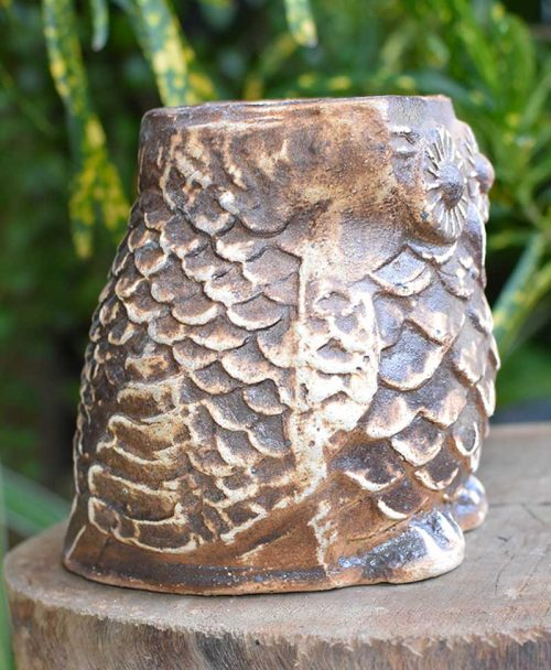 Ceramic Designer Owl Planter Coffee