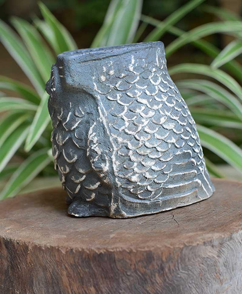 Ceramic Owl Planter Blue Color 4 inch