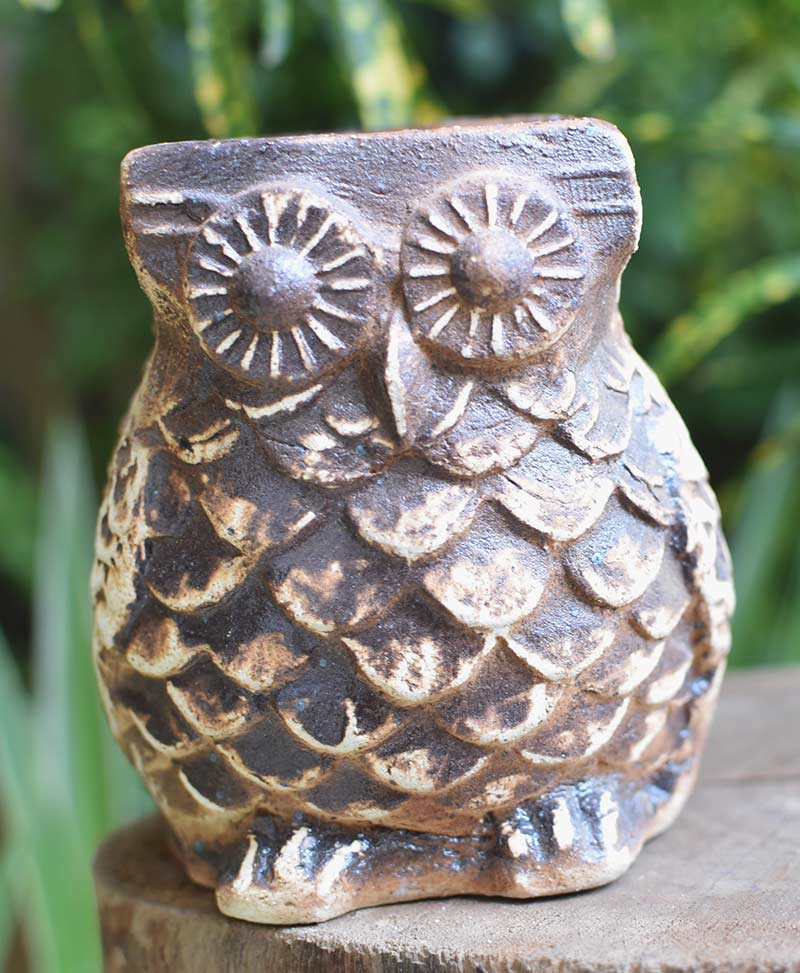 Ceramic Owl Planter Coffee Brown Color 4 inch