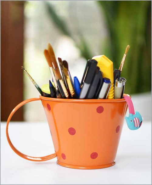 Buy Metal Cup Polka Planter Orange