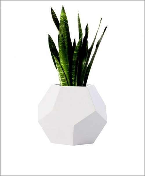 Decorative Fiber Planter 14 inch Diamond Shape Round