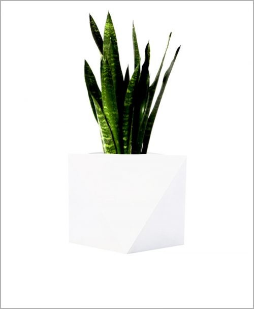Decorative Fiber Planter 14 inch Diamond Shape Square