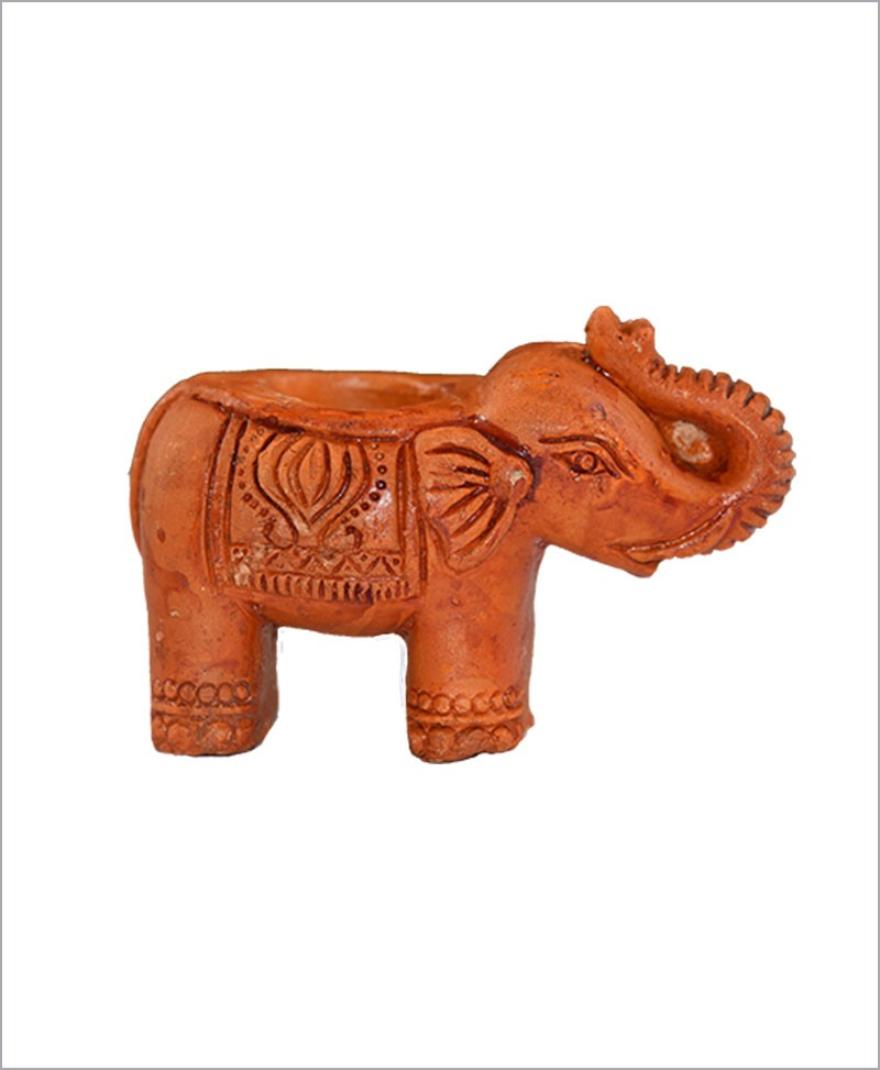 Garden Miniature Terracotta Elephants (Set of 2 Elephants)