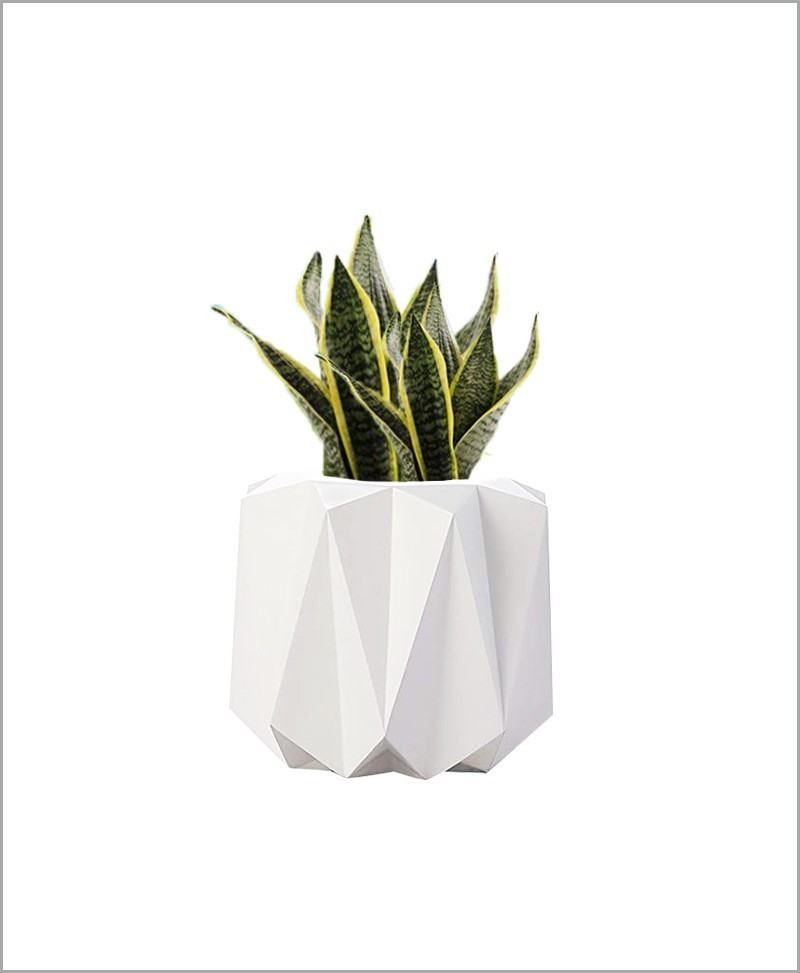 Decorative Fiber Planter Origami Shape 14 Inch, Indoor - Outdoor Planter