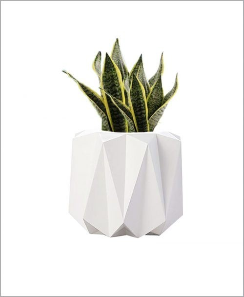 Decorative Fiber Planter Origami Shape 18 Inch Indoor - Outdoor Planter