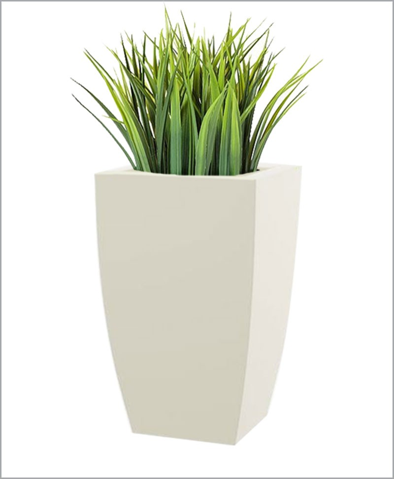 Semi Square Shape Fiber Planter 30 inch, Indoor - Outdoor Planter