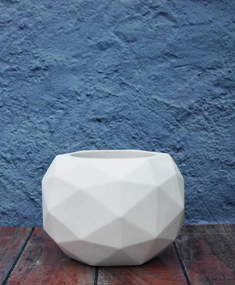 Geometric Shape Polyhedron Planter 18 inch, Indoor – Outdoor Fiber Planter