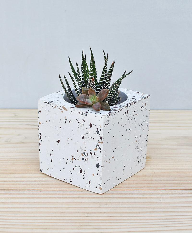 Geometric Concrete Planter Cube