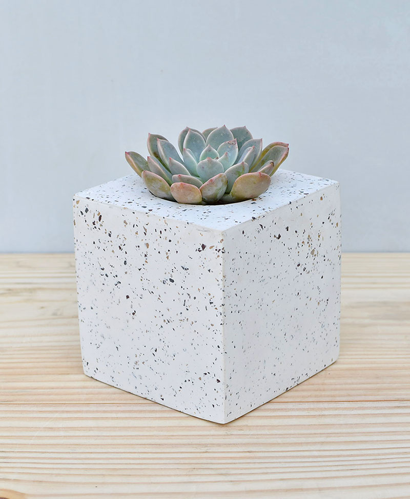 Geometric Concrete Planter Cube Large