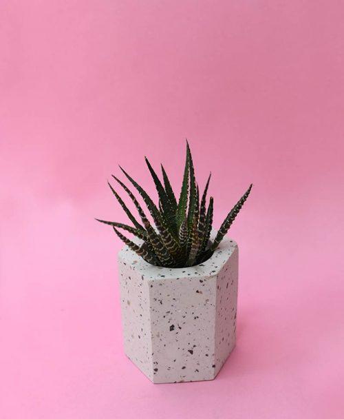 Geometric Concrete Planter Hexagon Straight -3
