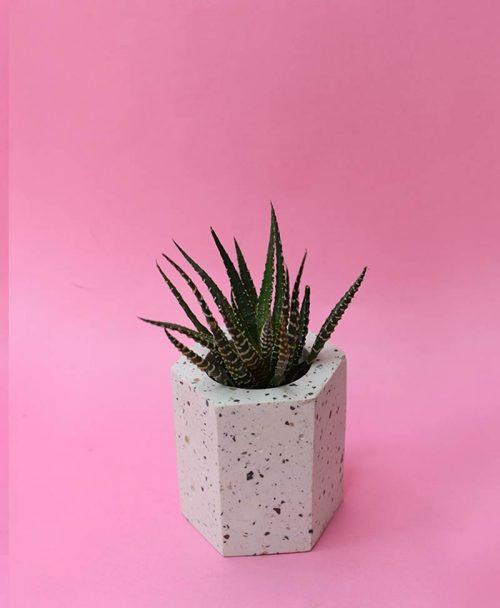 Geometric Concrete Planter Hexagon Straight -2