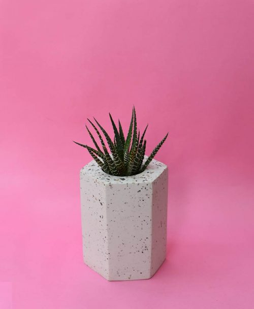 Geometric Concrete Planter Hexagon Straight Large -2