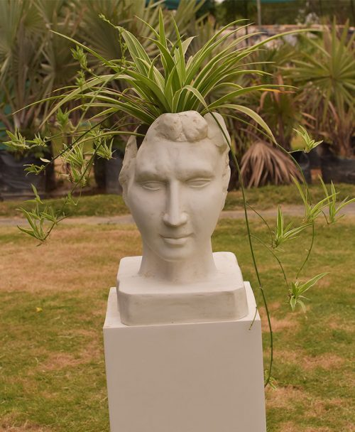 Head Planter 12 inch, Indoor - Outdoor Fiber Planters