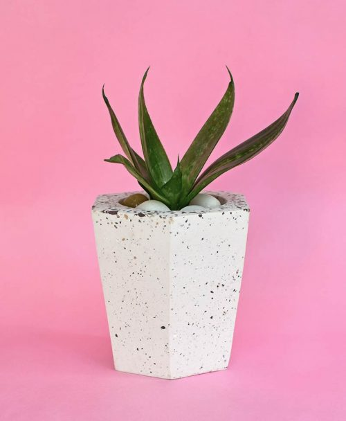 Geometric Concrete Planter Hexagon Tapered Large -1