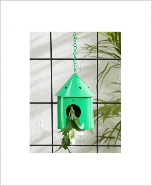 Metal Hanging Bird House Round Green