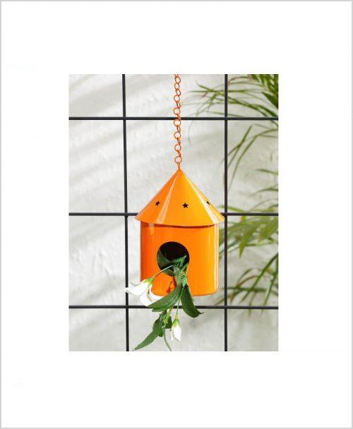 Metal Hanging Bird House Round Orange