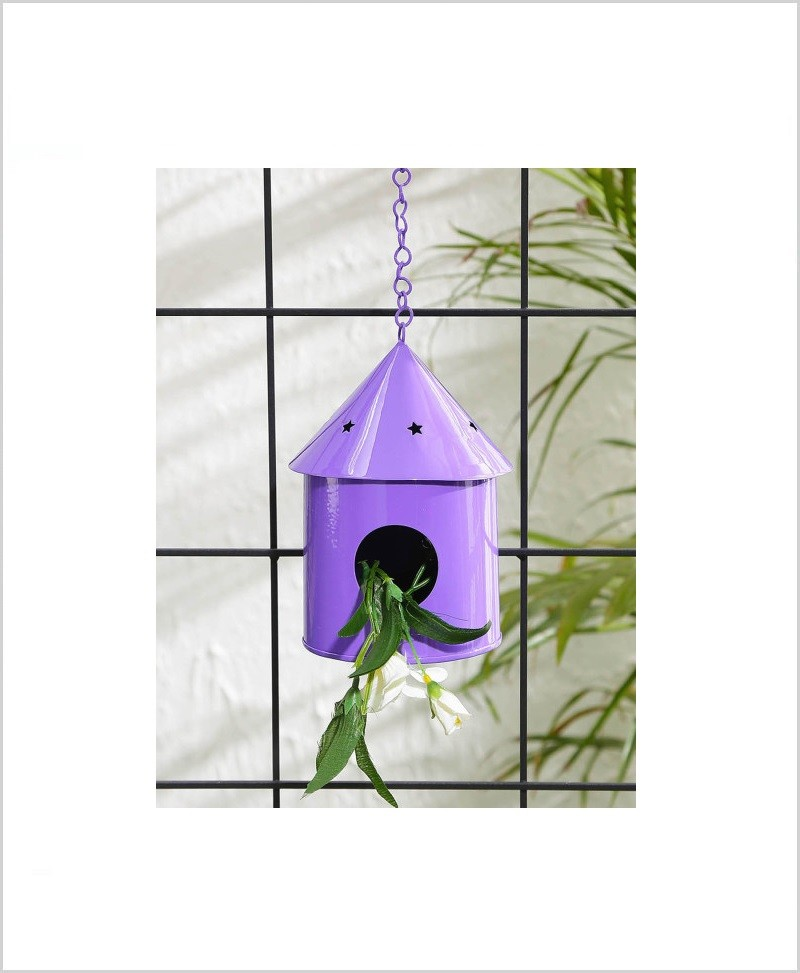 Metal Hanging Bird House Round Purple