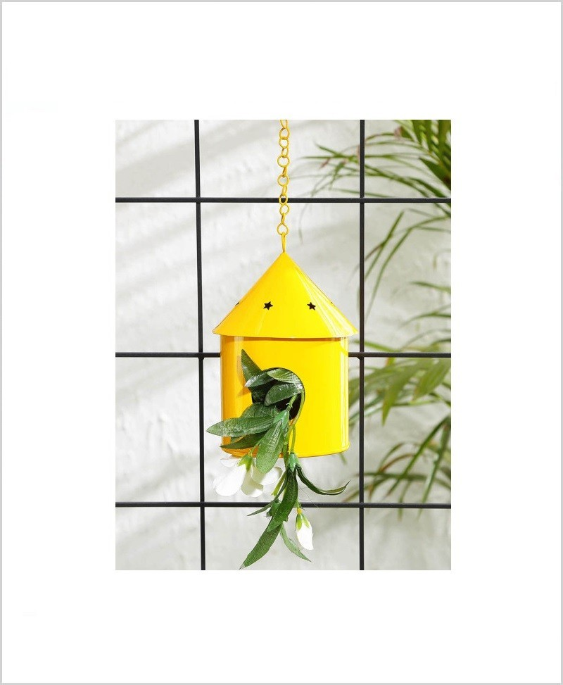Metal Hanging Bird House Round Yellow