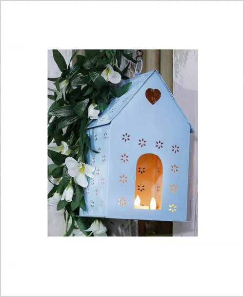 Metal Hanging Bird House Square Blue