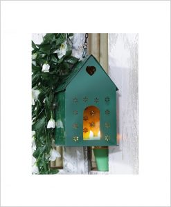 Metal Hanging Bird House Square Green