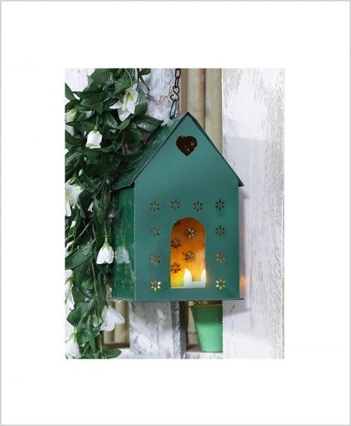 Metal Hanging Bird House Square Green