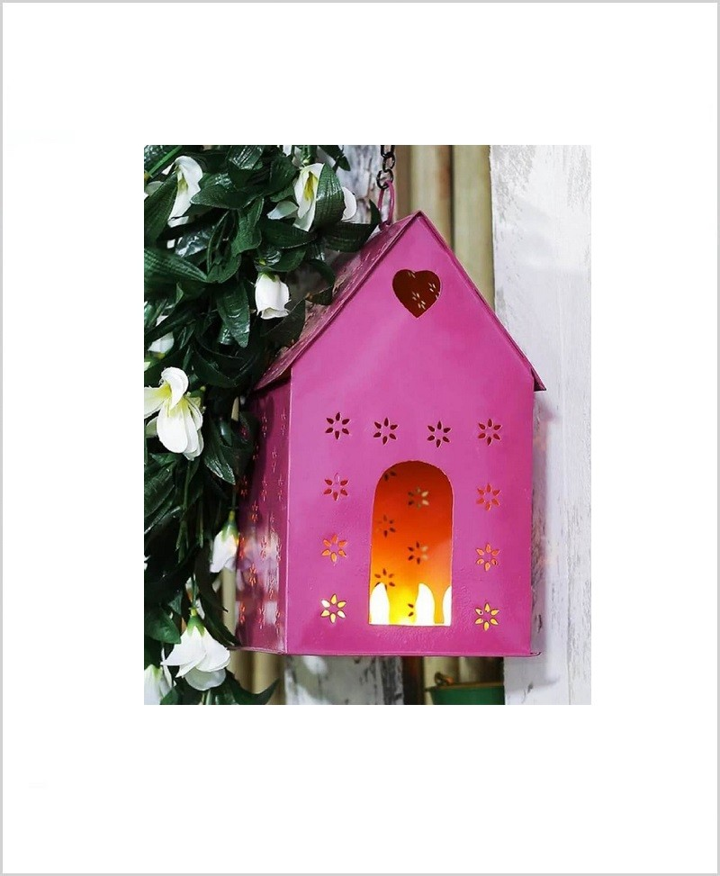Metal Hanging Bird House Square Pink