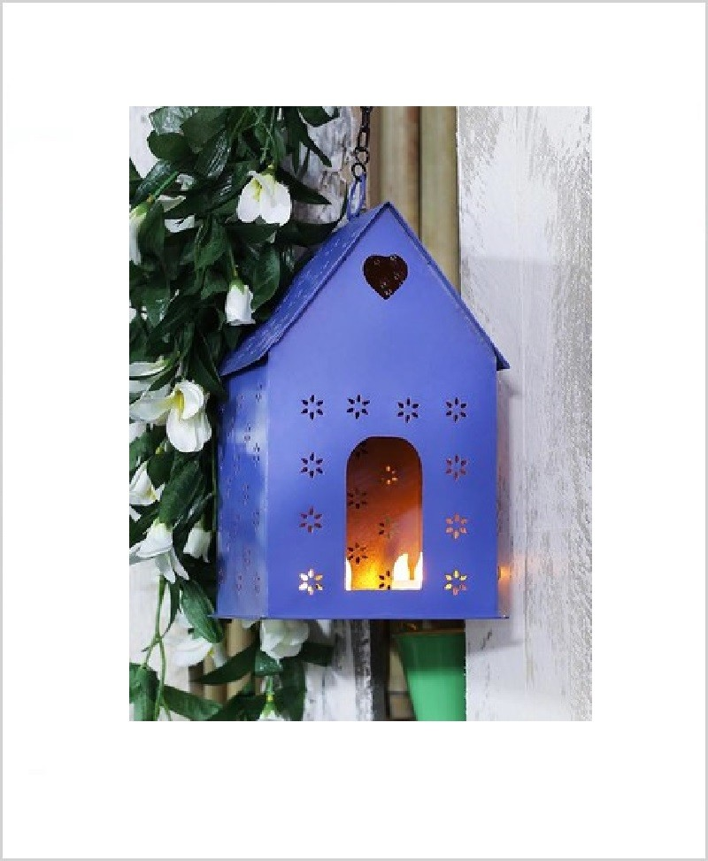 Metal Hanging Bird House Square Purple