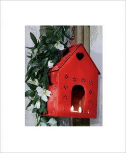 Metal Hanging Bird House Square Red