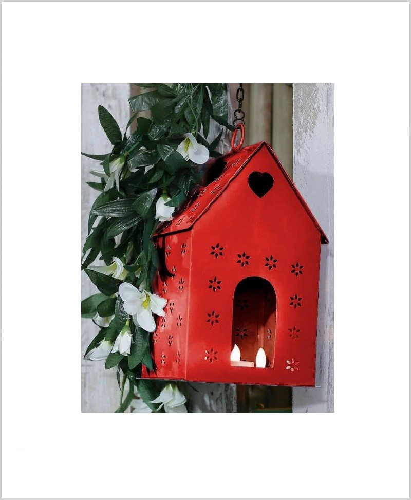 Metal Hanging Bird House Square Red