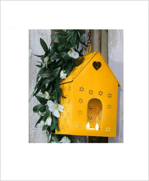 Metal Hanging Bird House Square Yellow