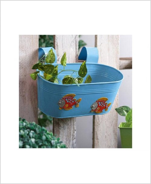 Buy Metal Oval Railing Fish Planter Blue