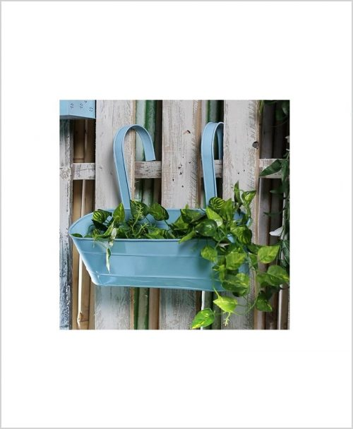 Buy Metal Oval Railing Planter Large Blue