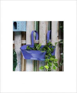 Buy Metal Oval Railing Planter Large Purple