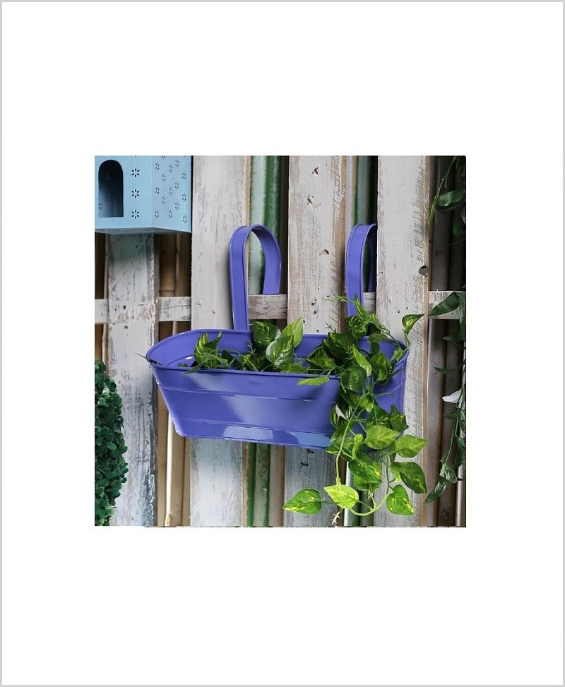 Buy Metal Oval Railing Planter Large Purple