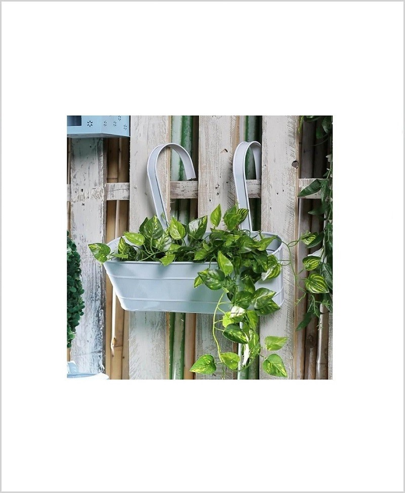 Buy Metal Oval Railing Planter Large White