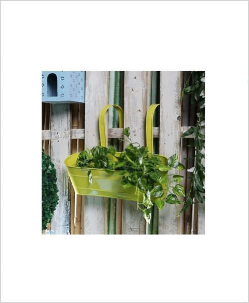 Metal Oval Railing Planter Large Yellow