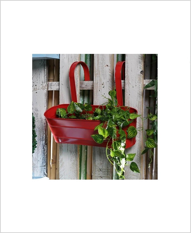 Metal Oval Railing Planter Large Red