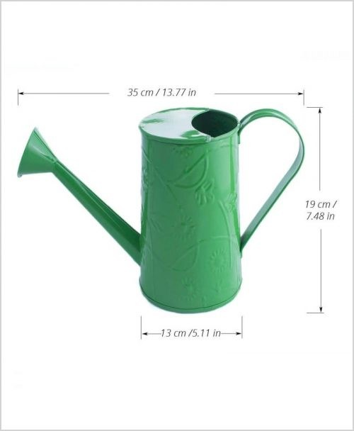 Metal Watering Can 1000ml Green Dia